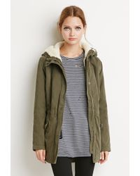 Forever 21 Faux Shearling Utility Jacket - Green
