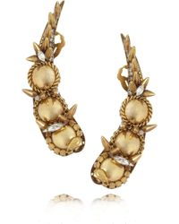 Erickson Beamon Velocity Gold-Plated Swarovski Crystal Earrings - Metallic