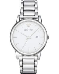 Emporio Armani Round Stainless Steel Watch silver - Lyst