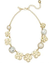 Kate Spade New York Gold-tone Graduated Faux Pearl Crystal and Flower Frontal Necklace - Lyst