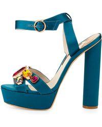 Sophia Webster Amanda Gem Platform Sandal - Blue