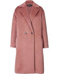 Ferragamo Lama-Wool Oversized Coat In Blush - Lyst