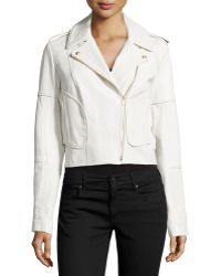 Diane Von Furstenberg Theodora Asymmetric Leather Moto Jacket - Lyst