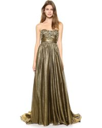 Marchesa Full Foil Chiffon Gown Gold - Lyst