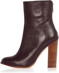 River Island Dark Red Leather Heeled Ankle Boots