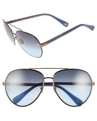 Oscar de la Renta - '210' 61mm Aviator Sunglasses - Navy - Lyst