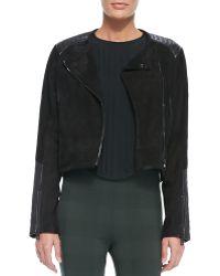 Rag & Bone Elettra Leathersuede Cropped Jacket Black 0 - Lyst