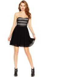 Guess Contrast Crochet Strapless Dress - Lyst