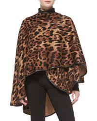 Sofia Cashmere Leopard-Print Cape  animal - Lyst