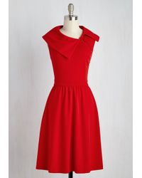 ModCloth | Trolley Tour Dress In Ruby | Lyst