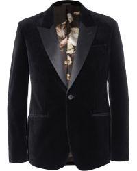 Alexander McQueen Black Slim-fit Velvet Tuxedo Jacket - Lyst