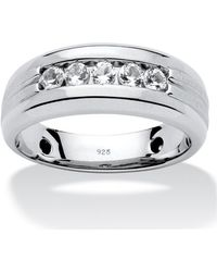 Palmbeach Jewelry - Men's .75 Tcw Round Lab Created White Sapphire Band In Platinum Over .925 Sterling Silver - Lyst