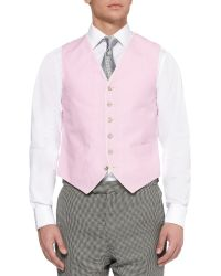 Favourbrook Pink Linen And Satin Waistcoat