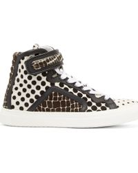 Pierre Hardy Black and White Pony Hair Carryovers Sneakers - Lyst
