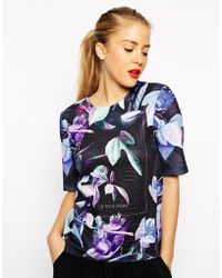 Asos Top In Smart Texture With Floral Print - Lyst
