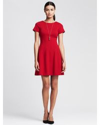 Banana Republic Seamed Ponte Fit-And-Flare Dress - Lyst
