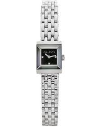 Gucci Women'S G-Frame Black Diamond Dial Stainless Steel Bracelet - Lyst