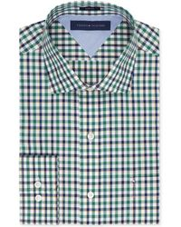 Tommy Hilfiger Slim-fit Green Check Dress Shirt - Lyst