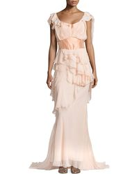 Zac Posen Off-The-Shoulder Ruffle Gown - Lyst