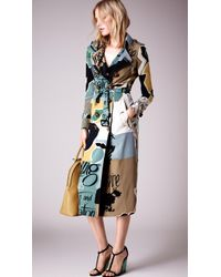 Burberry Book Cover Print Silk Trench Coat - Lyst