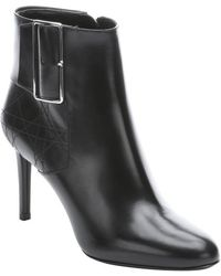 Dior Black Leather Buckle Detail Ankle Booties - Lyst