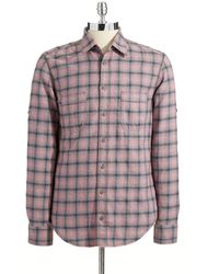 Hugo Boss Plaid Roll Tab Sleeved Sport Shirt - Lyst