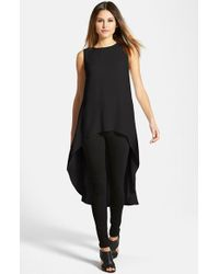 Eileen Fisher  Sleeveless Silk High Low Tunic - Lyst