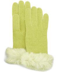 Portolano Fur-cuff Cashmere Knit Gloves - Lyst