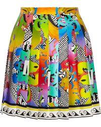 Versus  Printed Silk Mini Skirt - Lyst