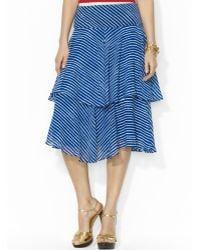 Ralph Lauren Lauren Striped Ruffled Skirt - Lyst