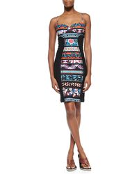 Jean Paul Gaultier Mixed-Print Paneled Bustier Dress - Lyst
