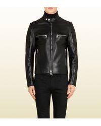 Gucci Black Shiny Leather Biker Jacket - Lyst