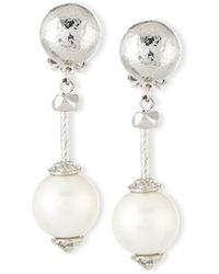 Jose & Maria Barrera | Silver-plate & Pearly Drop Clip Earrings | Lyst