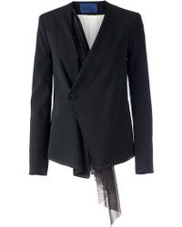 Sharon Wauchob Wrap Hanging Lace Detail Blazer - Black
