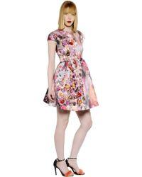 MSGM Floral Printed Techno Duchesse Dress - Lyst