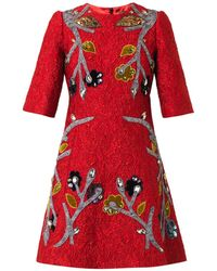 Dolce & Gabbana Appliqué Floral-brocade Dress - Lyst