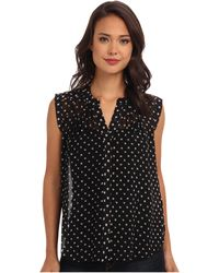 Rebecca Taylor Sleeveless Dotty Print Top - Lyst