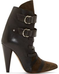 Isabel Marant Black Leather and Suede Royston Heel Boots - Lyst