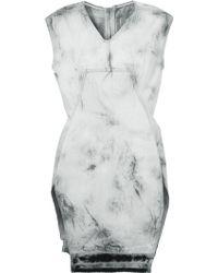 Rick Owens Tie-Dye Print Distressed Denim Dress - Lyst