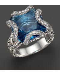 John Hardy Batu Classic Chain Sterling Silver Medium Braided Ring with London Blue Topaz and Diamonds - Lyst