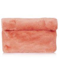 Topshop Faux Fur Roll-top Clutch - Lyst