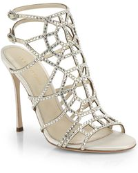 Sergio Rossi Puzzle Swarovski Crystal  Satin Cage Sandals - Lyst