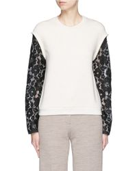 3.1 Phillip Lim | Floral Lace Sleeve French Terry Sweatshirt | Lyst