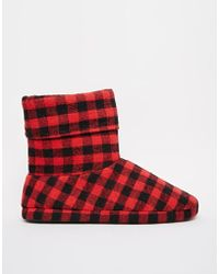 Asos Checked Slipper Boots - Lyst