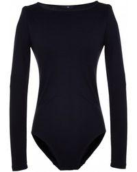 Tibi | blue Wool Jersey Boatneck Bodysuit | Lyst