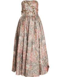 Notte By Marchesa Strapless Brocade Dress - Lyst