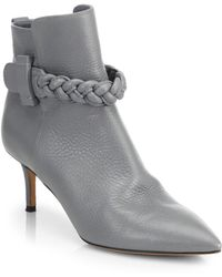 Valentino Leather Point-Toe Booties - Lyst