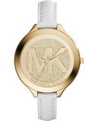 Michael Kors Women'S Slim Runway White Saffiano Leather Strap Watch 42Mm Mk2389 - Lyst