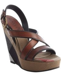 Burberry Brown Nova Check Canvas and Leather Wedge Sandals - Lyst