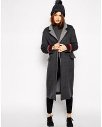 Asos Coat With Contrast Collar - Lyst
